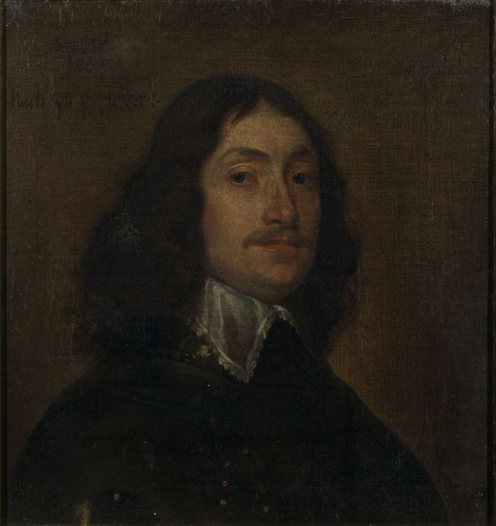 painting of a half length portrait of a man with long hair and moustache