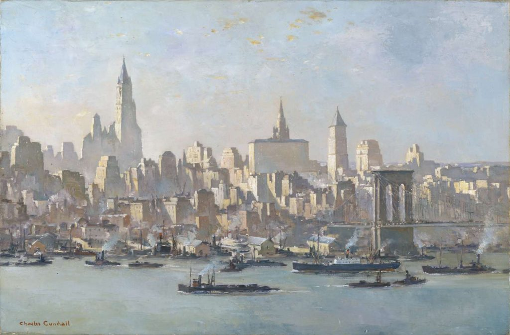A painting showing a vista of the East River with Manhattan beyond