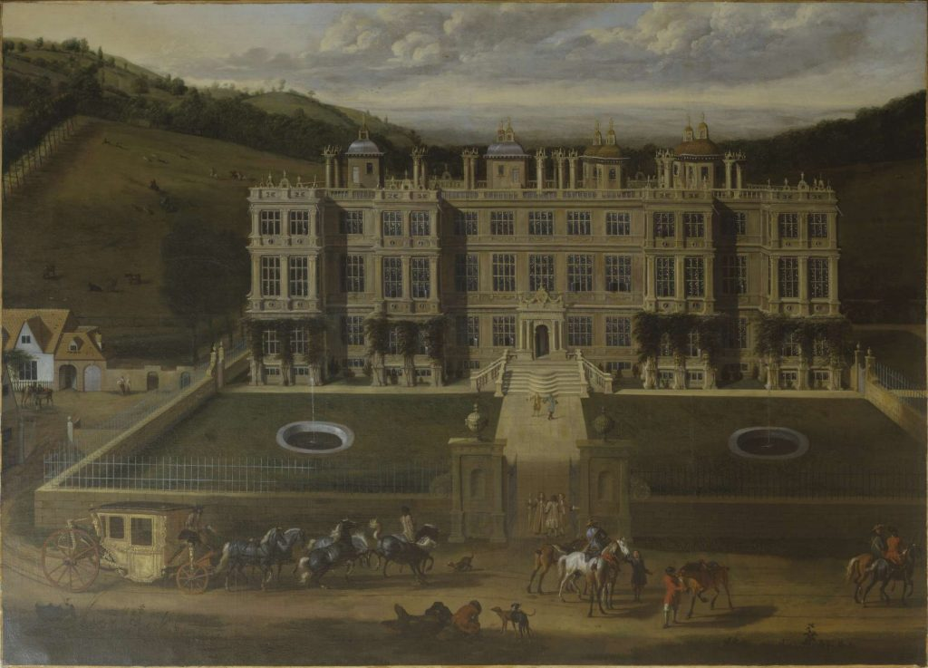 painting of an Elizabethan country house with garden in front