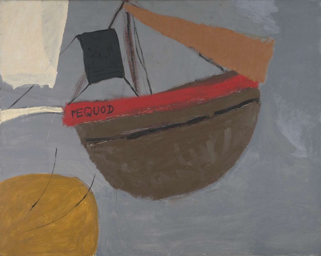 A painting showing a stylised representation of a ship with 'Pequod' written on its side