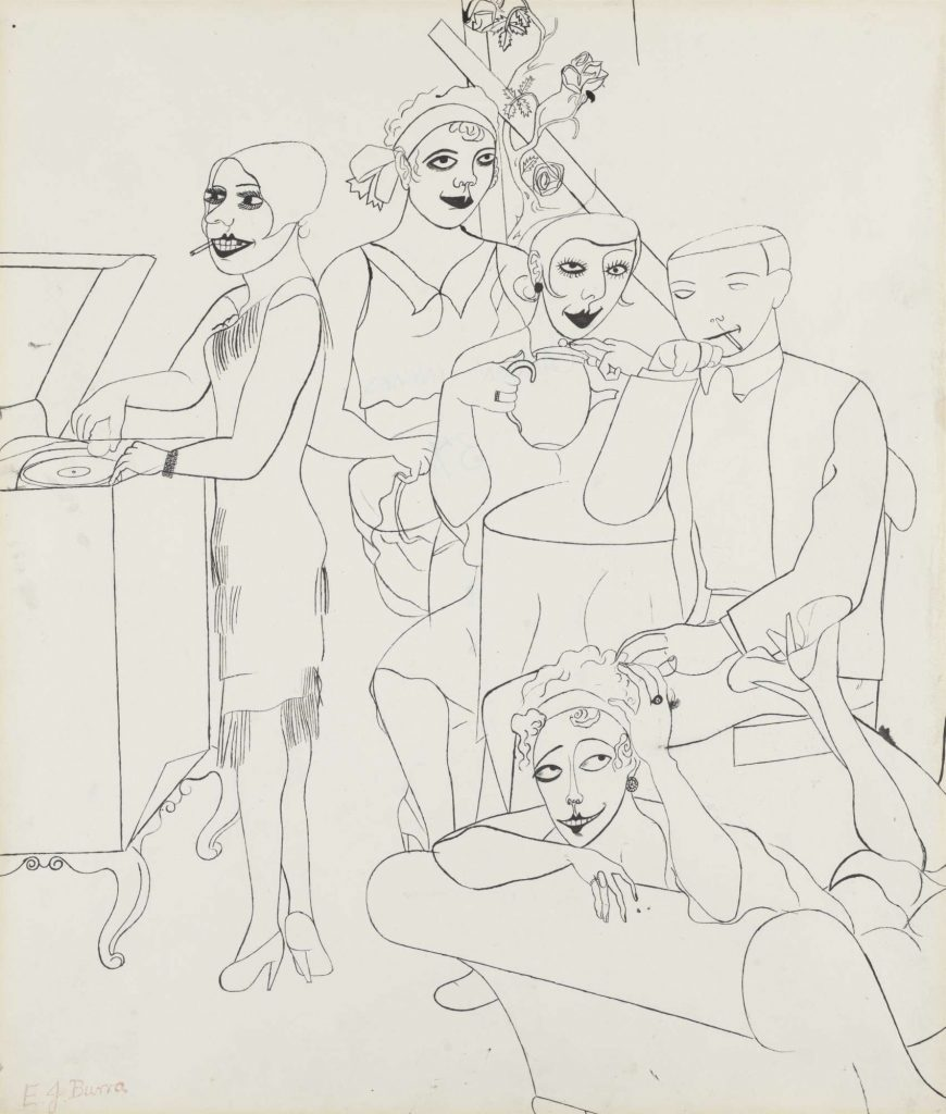 A drawing of four women and a man listening to music on a record player, relaxing, smoking, and drinking tea