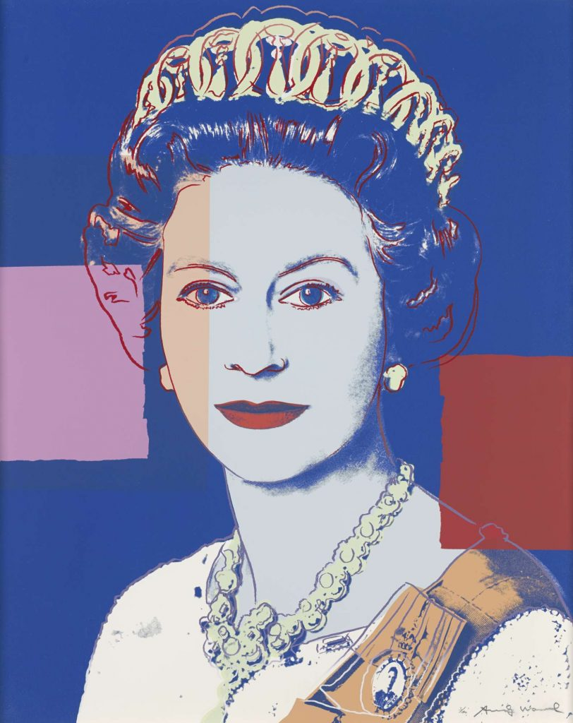 A multicoloured screenprint showing HM The Queen wearing a crown and facing forward