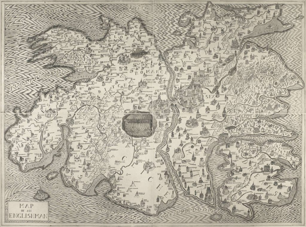 A hand-drawn map of an island