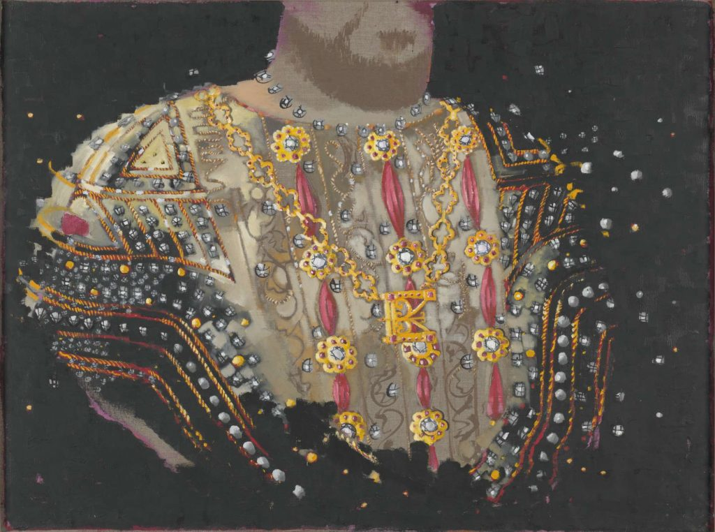 Image of a headless King Henry VIII wearing decorative costume