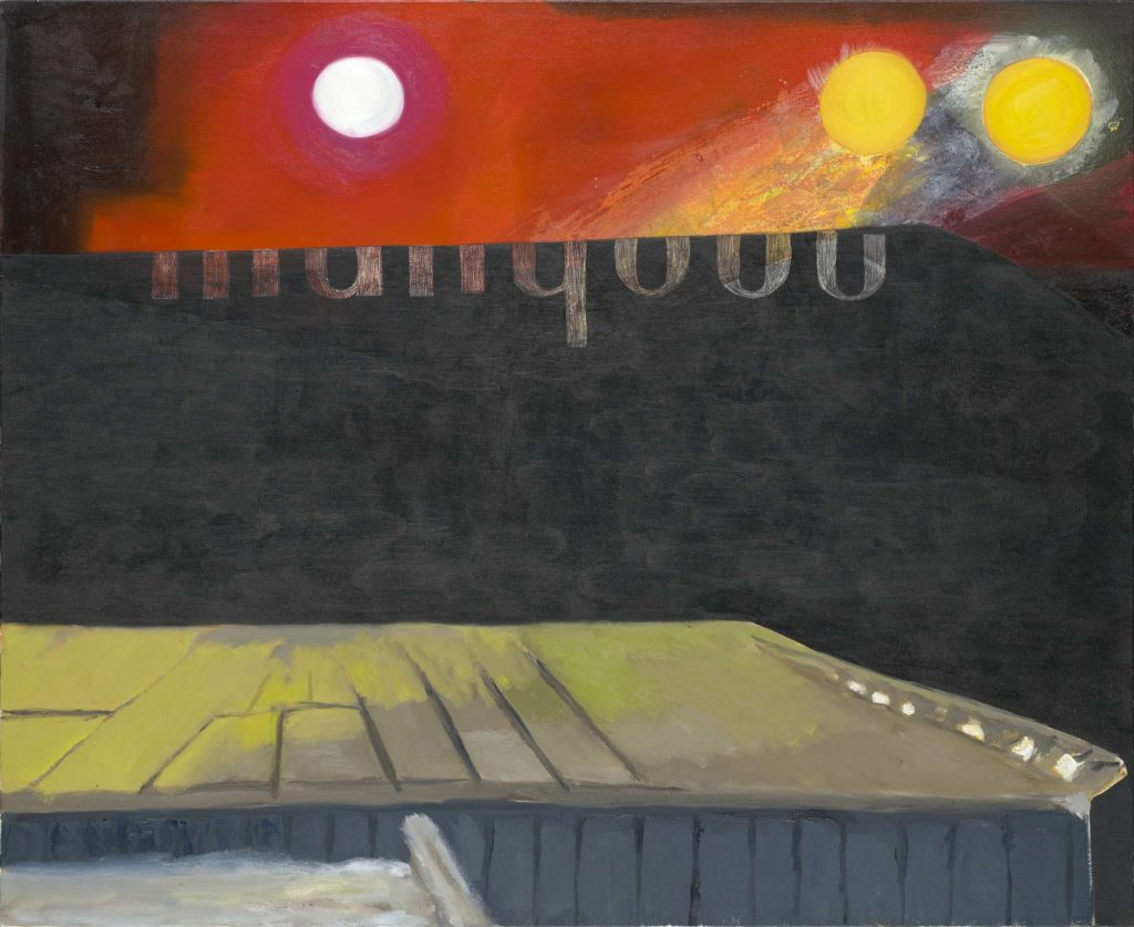 A painting of a stage with lights above and a partially obscured sign spelling out 'marquee'