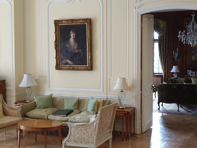 interior in the British Residence Budapest showing a portrait of a woman