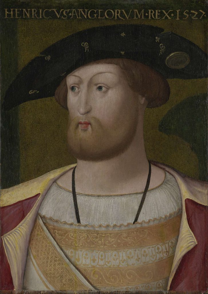 painting of a man, head turned to the left, in Tudor costume