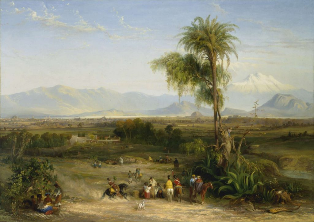 View of a landscape with figures, horses and a dog in foreground next to a large tree. Mountain range in the distance