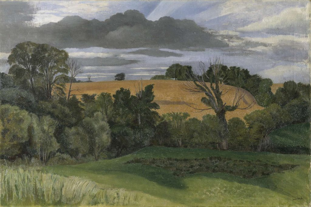 View of a rural landscape with green fields, a yellow cornfield and trees