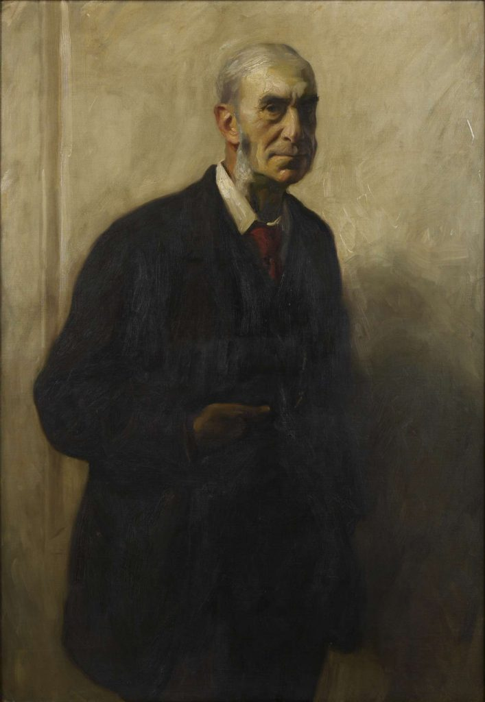 painting of a man in a suit, head turned to the right