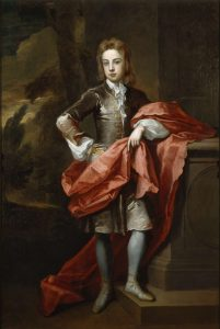 17th century portrait of a young boy with red silk around him