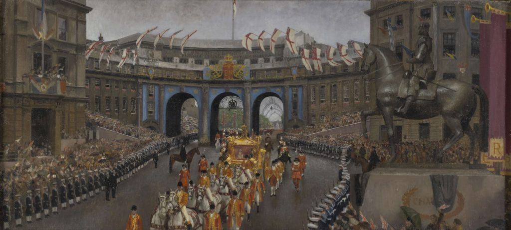 a coronation procession moving through Admiralty Arch in London