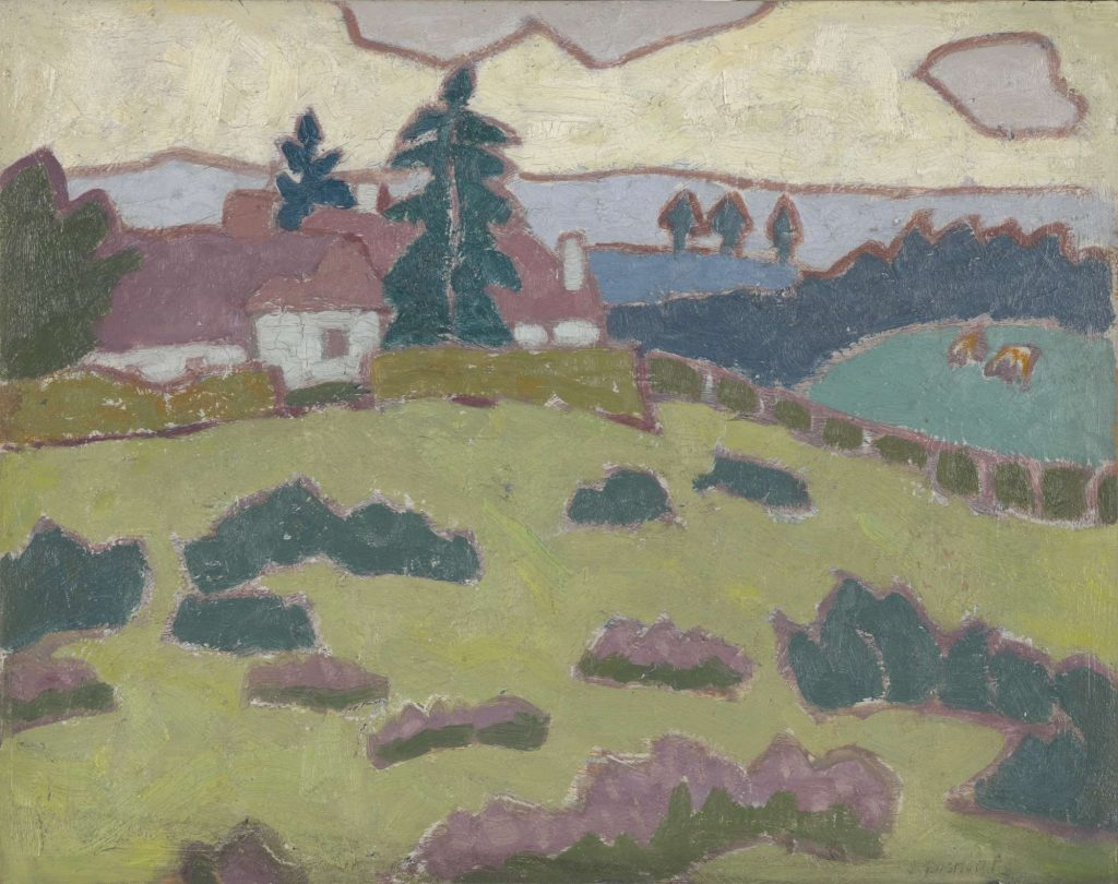 a landscape with trees and cottages