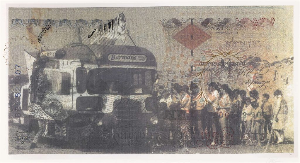 An ice-cream van with a queue of holidaymakers. On top of the van is a sign in the shape of a tiger. The image is printed over imagery derived from the British £10 banknote.