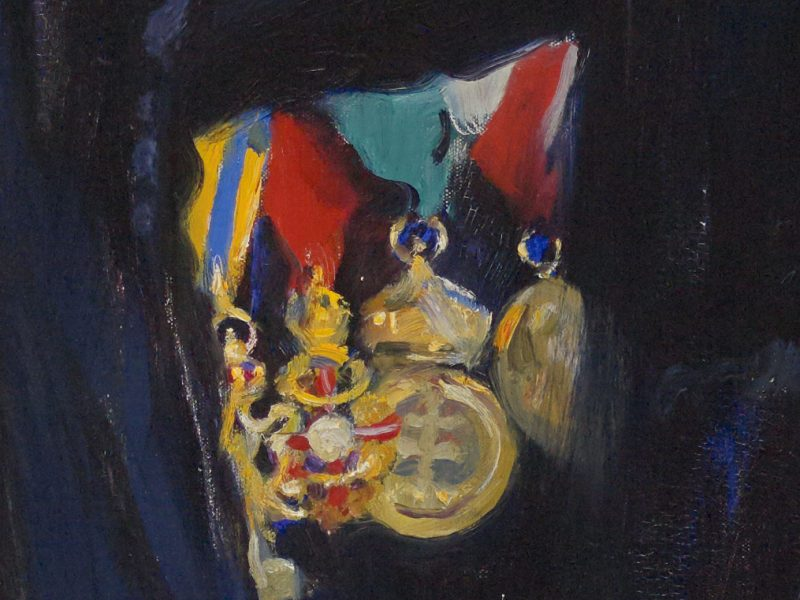 detail from a painting showing four medals