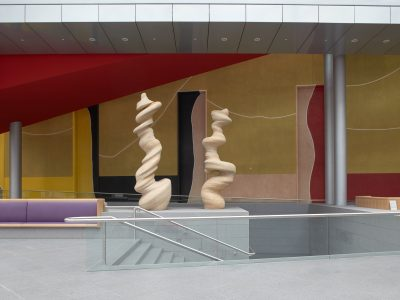 An atrium showing two works of art