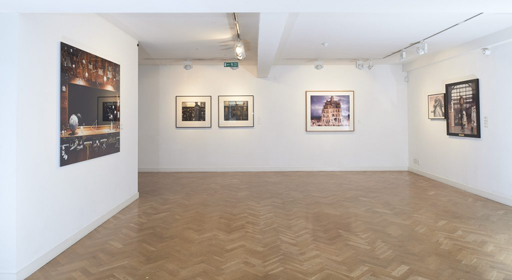 display space showing an exhibition of contemporary works