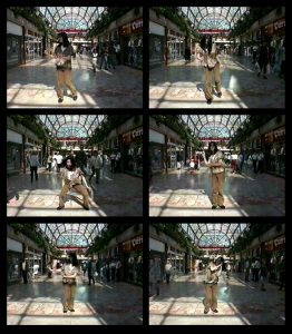 Six video stills showing a woman dancing in a shopping centre