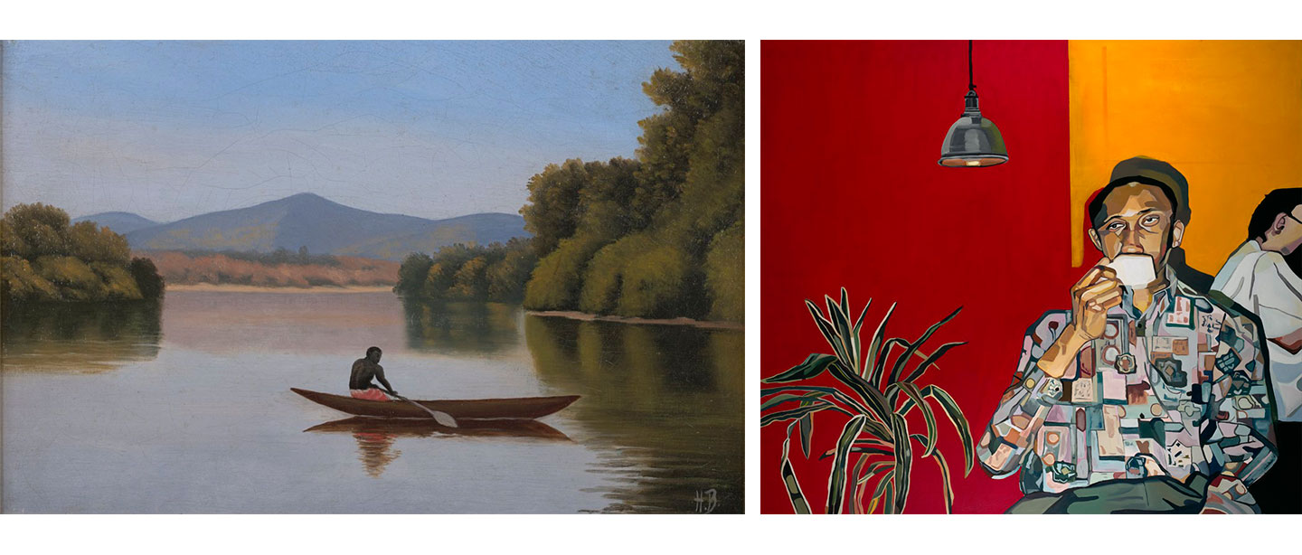 Two works from the Collection side by side, left: View on the Kwanga River with Native in a Canoe by Henry Bailey. Right: Man drinking coffee by Joy Labinjo
