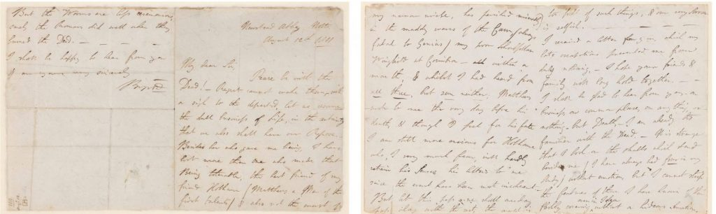 A photograph of a letter written by Lord Byron to Robert Charles Dallas