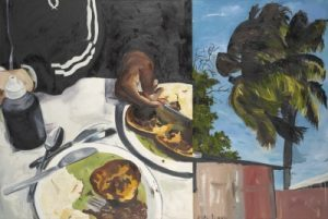 On one side of the painting, hands are seen near two plates of pie and mash. On the other side, a palm tree blows in the wind