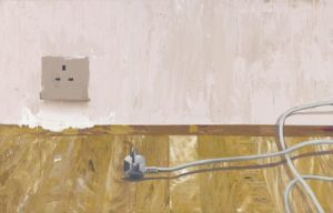 Painting of a socket in a wall and a plug on the wooden floor