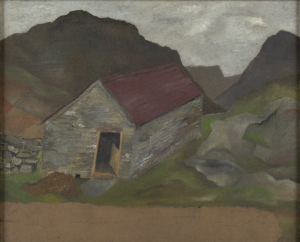 A small house with a red roof, against the backdrop of a dark and gloomy landscape.